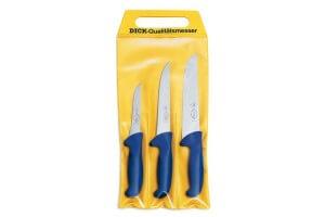 Pochette de 3 couteaux de boucher bleus DICK ERGOGRIP désosseur+saigner+boucher