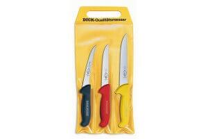 Pochette de 3 couteaux de boucher DICK ERGOGRIP 1 couteau à saigner + 2 désosseurs