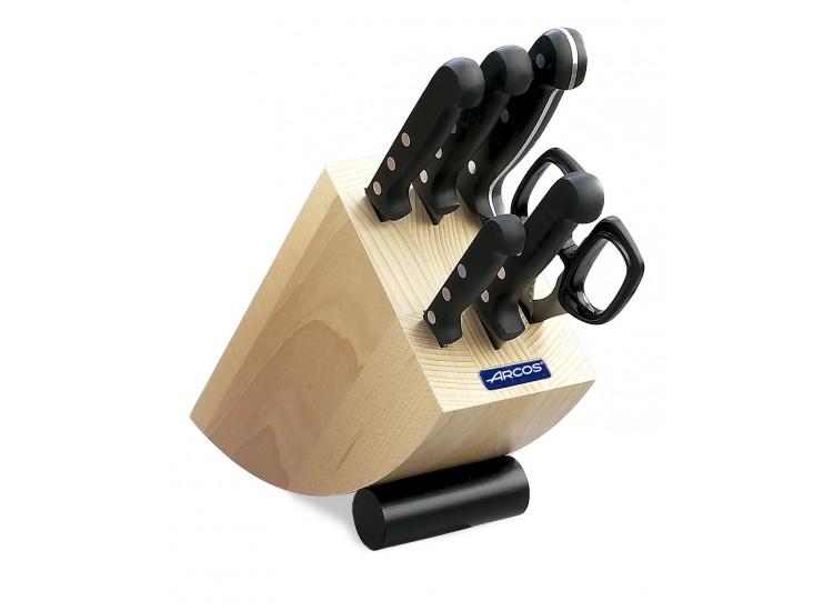Bloc design bois de hêtre 5 couteaux + ciseaux Arcos UNIVERSAL lames acier inox NITRUM