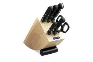 Bloc design bois de hêtre 5 couteaux + ciseaux Arcos UNIVERSAL acier inox NITRUM
