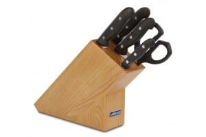 Bloc en pin 4 couteaux + 1 ciseaux Arcos MAITRE lames acier inox NITRUM