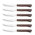 Set de 6 couteaux à steak manches en bois Arcos lames acier inox microdentées