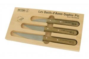 Le coffret 3 couteaux manche chêne d'Anne Sophie Pic selon André Verdier
