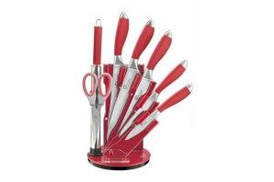 Bloc de 5 couteaux + 1 fusil + 1 ciseaux Pradel Excellence rouge acier inox