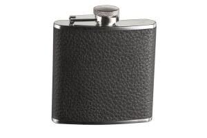 Flasque inox Keen Sport gainée cuir noir vieilli + bouchon baïonnette 150ml