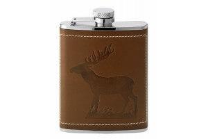 Flasque inox gainée cuir décor cerf + bouchon baïonnette - 180ml