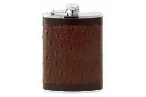 Flasque inox gainée cuir façon autruche + bouchon baïonnette - 240ml