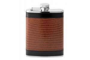 Flasque inox gainée cuir façon serpent + bouchon baïonnette - 180ml