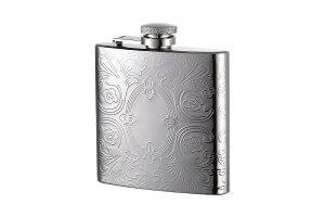 Flasque élégante tout inox décor fleuri + bouchon baionnette - 180ml
