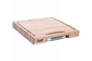Planche Boos Blocks Prep Masters bois d'érable + plateau acier 46x46x6cm