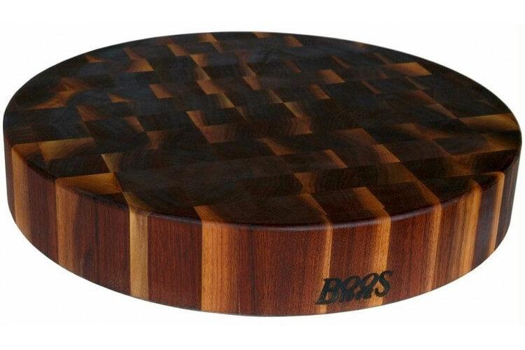 Planche à découper ronde Boos Blocks Gourmet en noyer noir Ø46x7.5cm