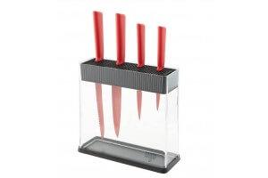 Bloc Kuhn Rikon COLORI transparent + 4 couteaux rouge