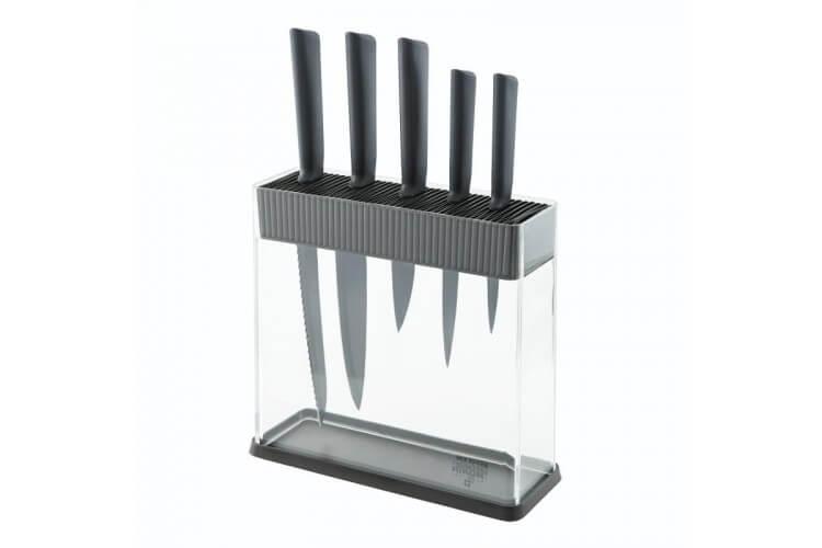 Bloc Kuhn Rikon COLORI transparent + 5 couteaux noir ultra-affûtés