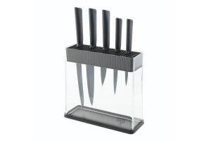 Bloc Kuhn Rikon COLORI transparent + 5 couteaux noir