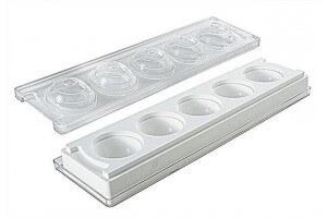 Moule pâtissier Silikomart silicone blanc 5 sphères 3D diamètre 48mm