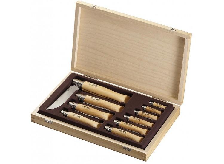 Coffret cadeau opinel traditionnel en bois 10 couteaux de poche