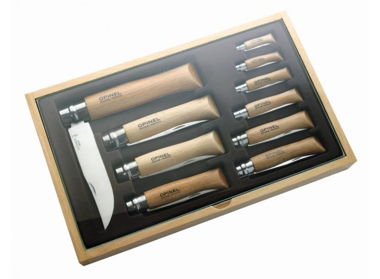 Coffret cadeau vitrine opinel traditionnel en bois 10 couteaux de poche