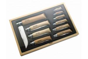 Coffret vitrine opinel traditionnel en bois 10 couteaux de poche