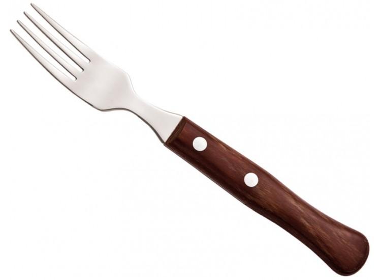 12 fourchettes à steak Arcos Dents de 9 cm inox Manche en bois