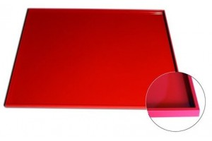 Tapis lisse de cuisson en silicone rouge 42x35cm bord épais