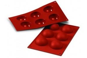 Moule professionnel en silicone Silikomart Silicon Flex 300x175mm 6 demi-sphères 6cm