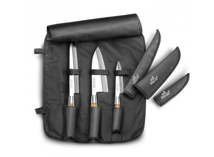 Malette Sabatier International 3 couteaux de cuisine style japonais manche Zebrano