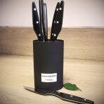 Bloc universel Au Nain Brasserie 6 couteaux à steak manches noirs