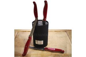 Bloc universel Au Nain Bistronome 4 couteaux à steak élégants manches rouges