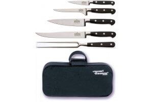 Malette 4 couteaux de cuisine V. Sabatier + 1 fourchette de chef manches 3 rivets