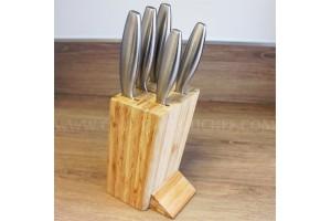 Bloc bambou Sabatier International 5 couteaux de cuisine tout acier manches ronds