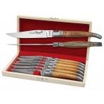 Coffret cadeau de 6 couteaux de table Laguiole Bougna manches en Teck ouvragé
