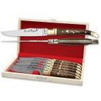Coffret cadeau de 6 couteaux de table Laguiole Bougna manches ouvragés en palissandre