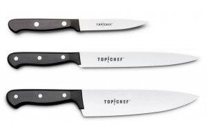 Coffret 3 couteaux Wusthof Top Chef professionnels manches noirs à 3 rivets