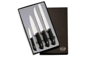 Coffret de 4 couteaux de cuisine professionnels SANELLI Gourmet manches noirs