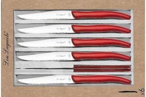 Coffret 6 couteaux à steak dentelés LOU LAGUIOLE Sky manches rouges