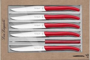 Coffret 6 couteaux à steak dentelés LOU LAGUIOLE Star manches rouges