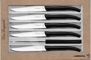 Coffret 6 couteaux à steak dentelés LOU LAGUIOLE Star manches noirs