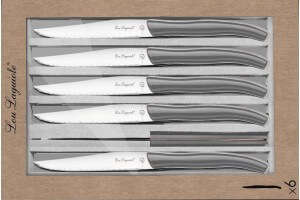 Coffret 6 couteaux à steak dentelés LOU LAGUIOLE Star manches gris
