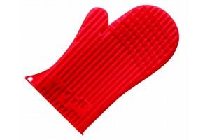 Moufle silicone rouge anti-chaleur 27x15cm
