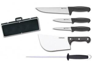 Malette professionnelle Fischer Bargoin spéciale boucher 4 couteaux + 1 fusil à aiguiser