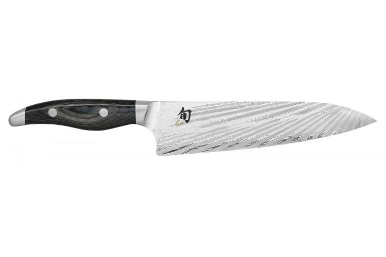 Couteau de chef japonais KAI Shun Nagare lame damas 72 couches Dual Core 23cm manche bombé