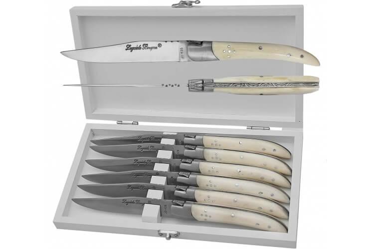 Coffret 6 couteaux de table Prestige Laguiole Bougna manches en os ouvragés