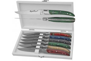 Coffret de 6 couteaux de table Prestige Laguiole Bougna manches bois colorés