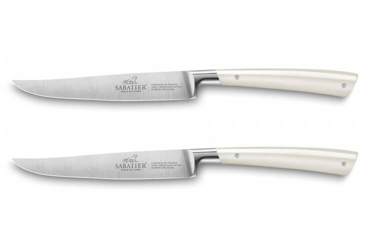 Coffret 2 couteaux à steak Sabatier Edonist Perle forgé 12cm fabrication française