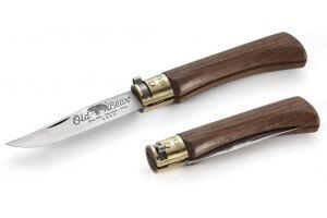 Couteau artisanal Old Bear M lame inox 8cm manche noyer avec virole