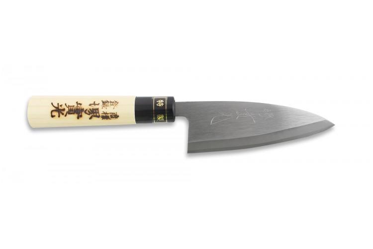 Couteau Ajikiri japonais artisanal JIKKO Tokusei 12cm Nihon Steel magnolia gravé