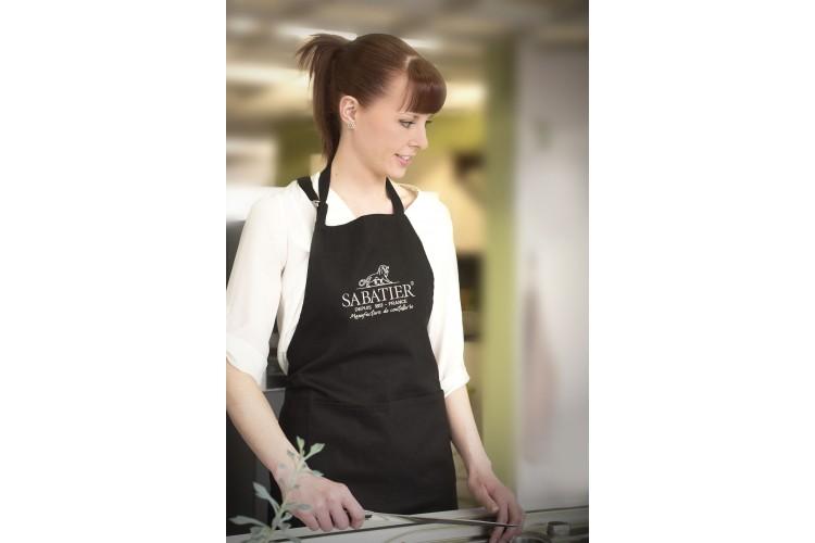Tablier de chef professionnel Sabatier 100% coton noir 90 x 100cm