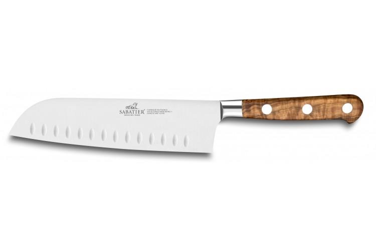 Couteau santoku SABATIER Provençao 100% forgé alvéolé 18cm manche olivier
