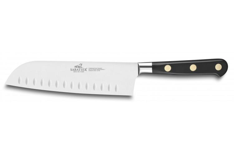 Couteau santoku SABATIER Idéal Inox 100% forgé rivets laiton alvéolé 17.5cm