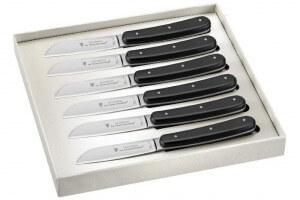 Coffret 6 couteaux de table London C. DOZORME lames lisses manches noirs rivetés